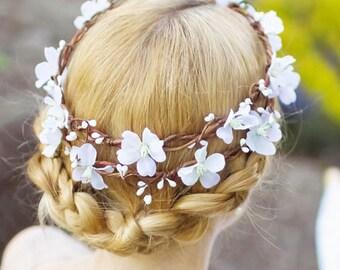 white flower crown, white floral crown, cherry blossom flower crown, flower crowns for women, white flower headpiece, crown for wedding