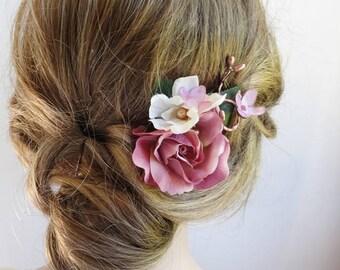 dusty rose hair clip, mauve hair comb, mauve wedding, dusty rose wedding, rose hair flower, floral hair pin, flower hair pin, gold pearls