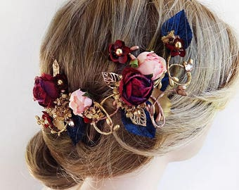 burgundy hair accessories, burgundy and navy, bridal headpiece, burgundy wedding hair flower, navy and gold, floral hair vine, hair clip
