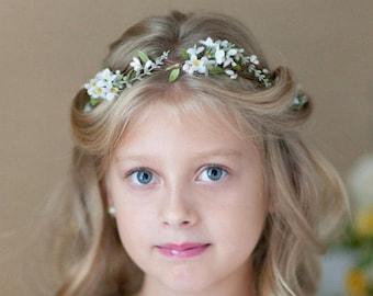 first communion flower crown, first communion headpiece, white flower crown for girls, flower girl crown, holy communion headband, halo