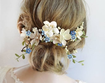 wedding headpiece flower, floral headpiece wedding, headpiece for bride, blue wedding hair piece, bridal hair piece boho, hair piece flowers
