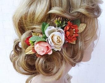 fall hair piece, fall headpiece for wedding, fall wedding hair piece, fall wedding hair comb, fall hair accessories, autumn wedding hair
