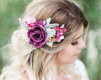 plum purple flower hair clip, purple headpiece, plum wedding hair accessories, pink and purple, floral hair piece, floral hair clip