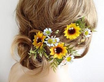 sunflower and daisy hair pins, sunflower hair pins, sunflower hair piece, daisy hair clip, sunflower and daisy crown, sunflower headpiece