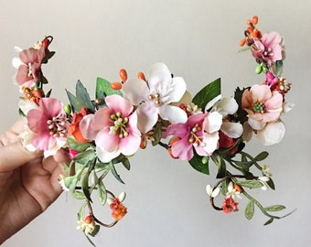 wedding headpiece floral, fall wedding hair piece, blush and orange floral headpiece, mauve wedding hair clip, dusty pink wedding hair piece