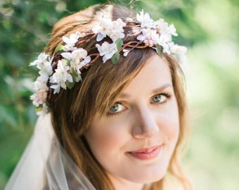 bridal flower crown, flower crown wedding, ivory flower crown, blush flower crown, floral crown wedding, white flower crown, the honeycomb