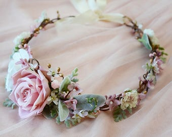 dusty rose flower crown, mauve flower crown, bridal flower crown, dusty pink wedding headpiece,bridal hair piece, floral crown, leaves