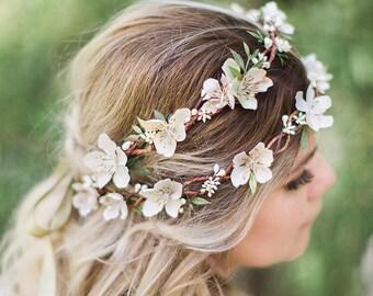 ivory flower crown wedding, flower crown adult, fall wedding hair piece, cream flower crown, autumn wedding hair accessories, floral crown