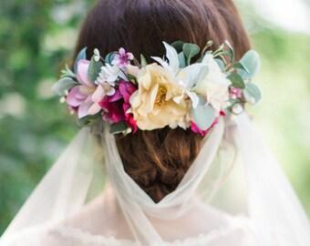 bridal headpiece flower, bridal hair piece, bridal hair flower, flower hair clip, wedding hair piece, floral headpiece, flower wedding, #90