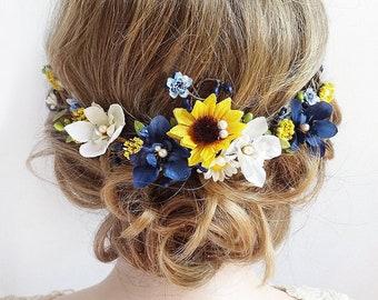 sunflower hair piece, sunflower hair clip wedding, navy hair accessory, sunflower headpiece, blue floral hair piece, sunflower bridal