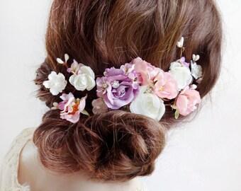floral headpiece, bridal headpiece flower, floral hair accessory, bridal hair piece, flower hair clip,  pink hair flower, lilac purple white