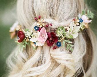 bridal hair piece flower, burgundy and navy hair piece, burgundy flower, navy wedding hair comb, blush hair clip, burgundy and gold wedding