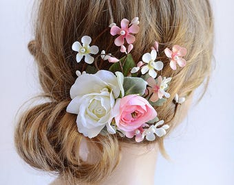 bridal hair flower, pink hair flower, wedding headpiece, bridal headpiece, hair flower wedding, bridal hair piece, rose hair clip,