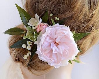 peony hair clip, blush wedding, pink flower hair clip, bridal hairpiece, wedding hairpiece,  lily of the valley, floral hair accessories