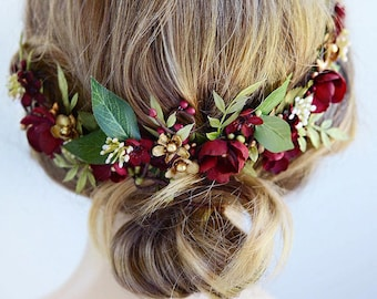burgundy headpiece, floral hair piece, burgundy hair clip, bridal headpiece, burgundy hair flower, gold wedding, leaf floral hair clip