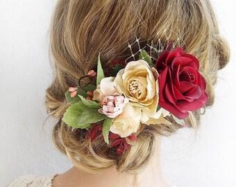fall wedding headpiece, fall bridal hair piece, burgundy floral hair comb, burgundy wedding hair piece, floral hair clip, burgundy flower