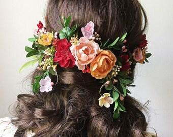 fall wedding hair accessories, fall bridal hair piece, fall floral hair comb, floral hair clip, autumn wedding hair piece, burgundy flower