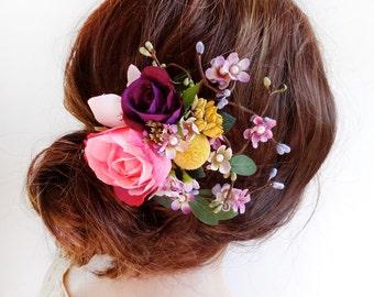 flower hair clip wedding, floral hair comb, pink flower hair clip, bridal hair piece, floral headpiece, wedding hair accessories, purple