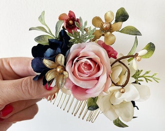 navy floral hair piece, pink rose hair clip, blush and navy wedding hair comb, blush floral headpiece, blush and gold, pink floral hair clip