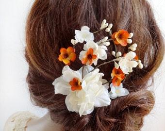 bridal flower hair clip, bridal hair piece, orange hair clip, fall hair clip, ivory flower, bridal hair accessories, floral hair comb
