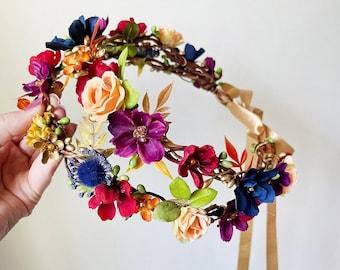 fall flower crown, fall wedding flower crown, fall floral crown, floral hair piece, fall wedding headpiece, autumn flower crown, orange