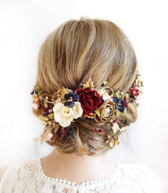 burgundy hair piece burgundy and navy wedding headpiece  936d6a51624