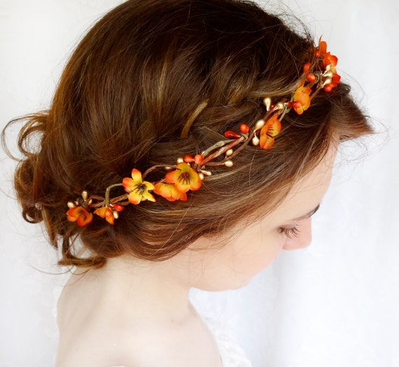 fall hair accessories fall flower crown orange floral  d1e9ab83931