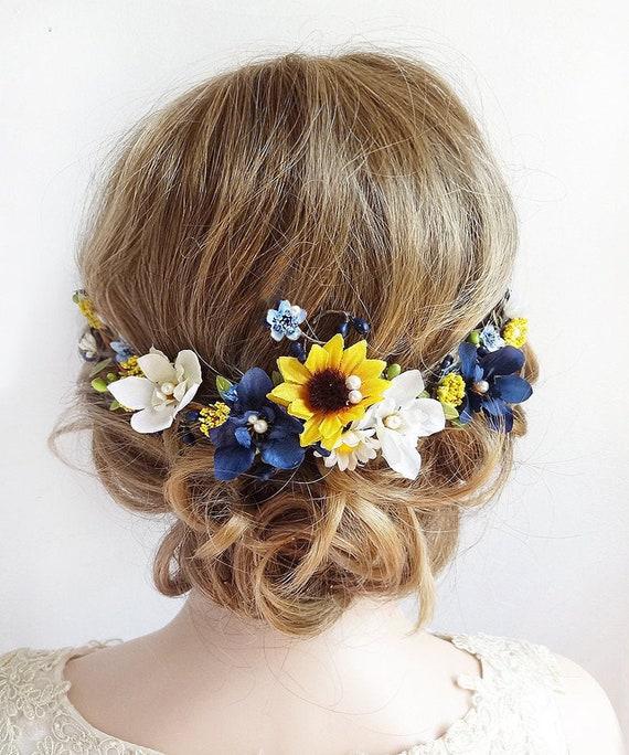 rustic wedding hair accessories sunflower wedding yellow headpiece sunflower hair clip sunflower hair comb yellow flower hair clip