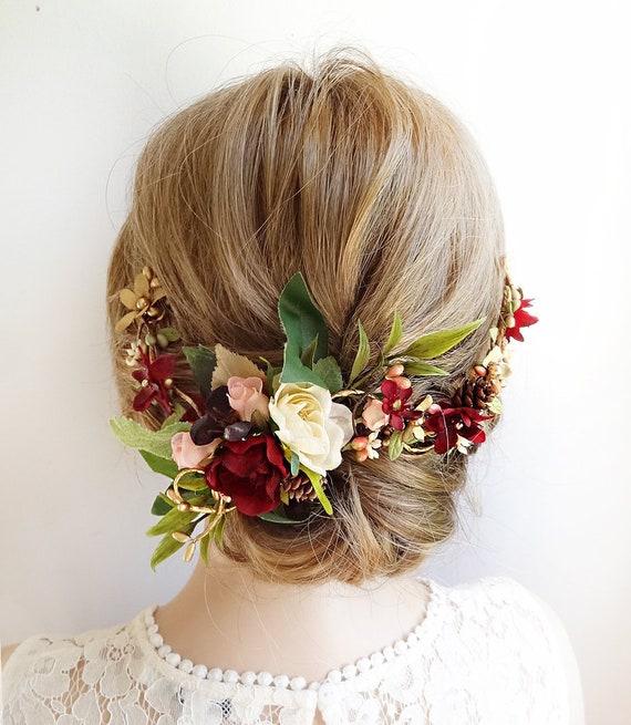 fbcf90de1a13 burgundy hair piece burgundy hair comb burgundy wedding