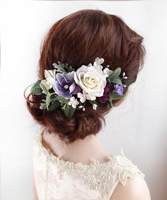 Purple hair clip white flower hair clip floral hair comb etsy image 0 mightylinksfo