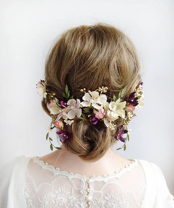 floral bridal hair piece, hair pieces for