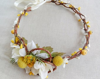 yellow flower headband, floral crown, yellow flower crown, bridal headpiece, bridal crown, floral headband, bridal hair accessories, #48