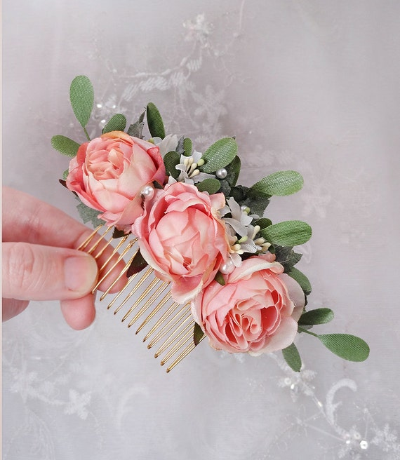Bridal hair comb pink rose hair clip floral hair etsy image 0 mightylinksfo