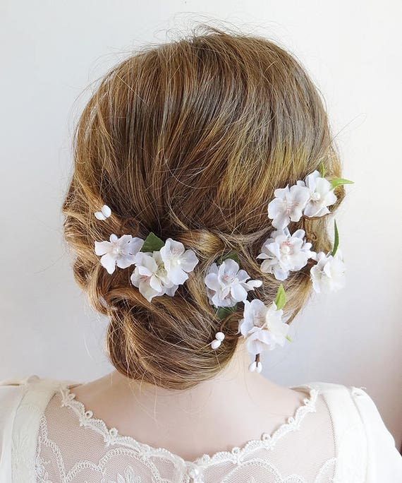 White flower hair pins white flower hair clip bridal hair etsy image 0 mightylinksfo