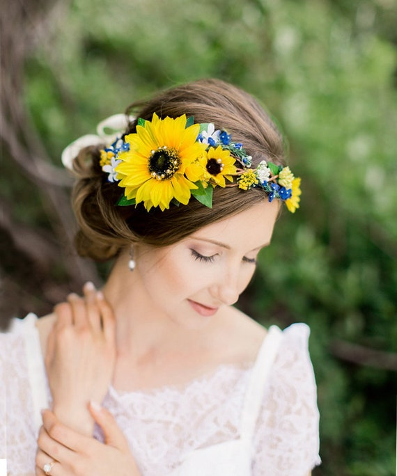 Sunflower Crown Wedding Blue Wedding Headpiece Yellow Flower Etsy