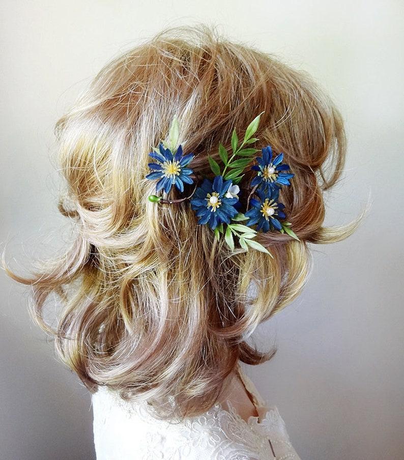 blue wildflower hair piece chicory flower blue flower hair pin chicory hair piece floral hair pin bridal hair pin blue hair flower