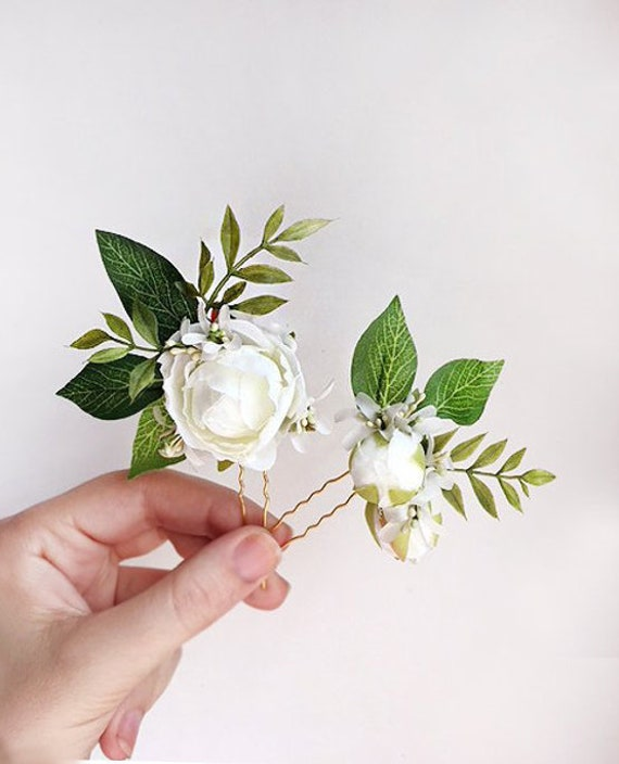 White flower hair pins bridal hair pins flower floral hair etsy image 0 mightylinksfo