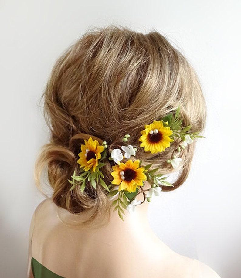 949faa35ecc42 sunflower hair clip bridal, sunflower hair pins, bridal hair pins flower,  sunflower hair clip, yellow hair flower, floral hair pins wedding