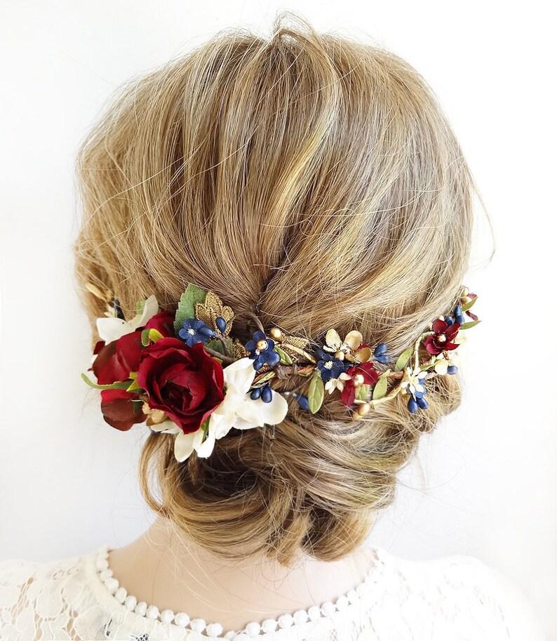 Burgundy and navy wedding headpiece burgundy hair piece  1581d38a07f