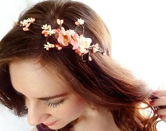 coral pink flower circlet, cherry blossom bridal headband - FAIRY VINE - bridal floral headband, pearl, flower vine garland