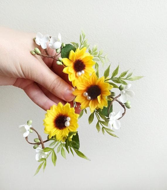Wedding Hair Flower Yellow Flower Hair pin Summer Hair Accessories Sunflower Hair Pins Sunflower Hair Clip Big Sunflower Hairpin Set