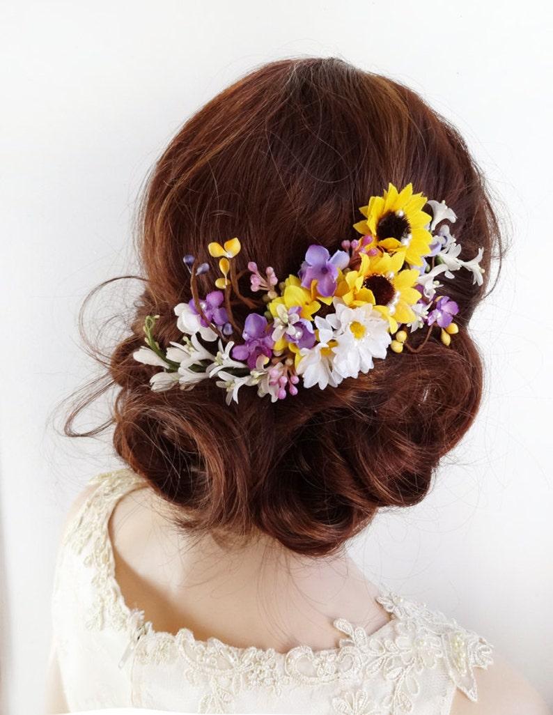 sunflower hair clip, bridal hair clip, sunflower wedding hair piece, bridal  hair comb, bridal headpiece, yellow and purple hair flowers