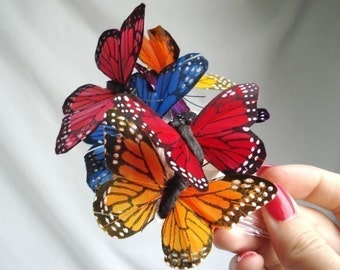 butterfly hair comb - COLORED RAIN - a whimsical accessory