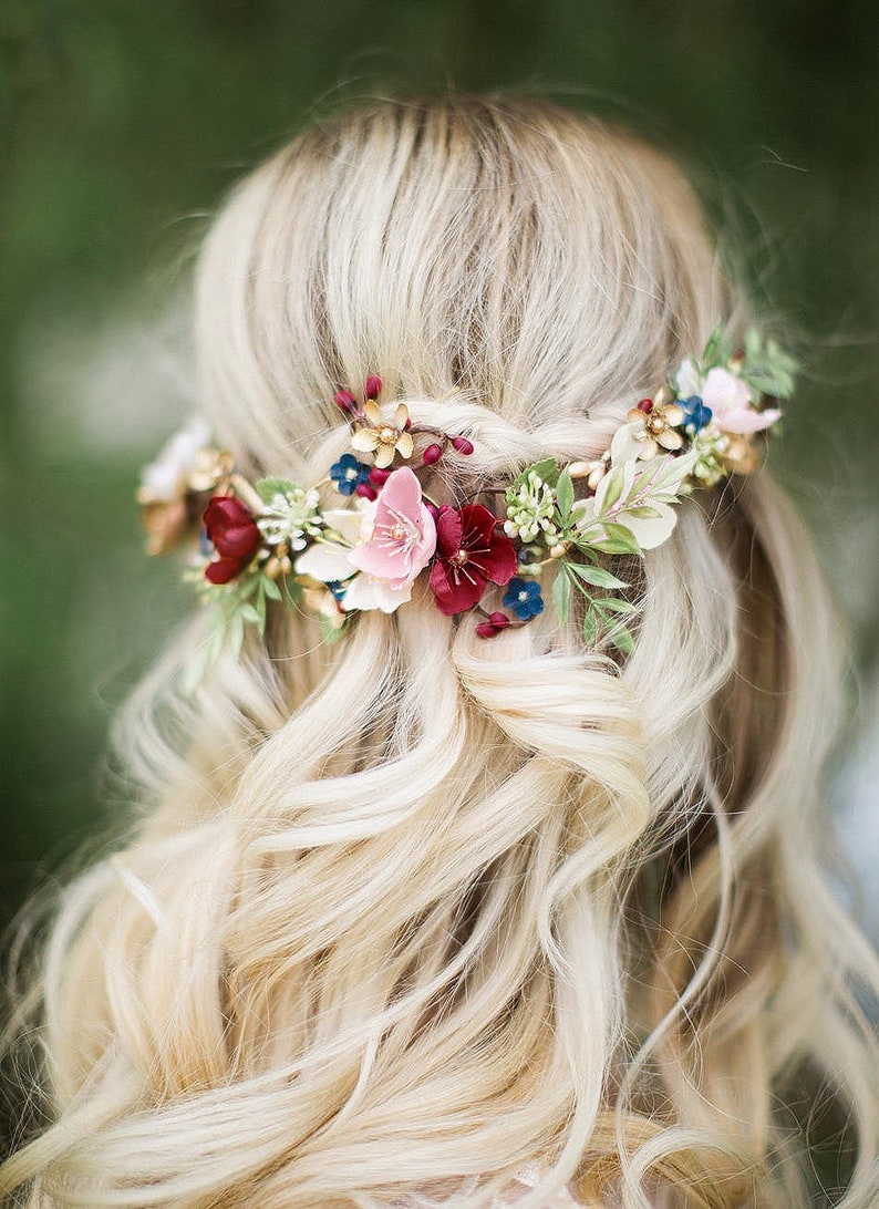Burgundy hair accessories bridal headpiece floral burgundy  7014453a141