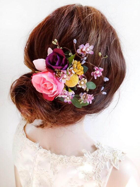 Flower Hair Clip Wedding Floral Hair Comb Pink Flower Hair Etsy
