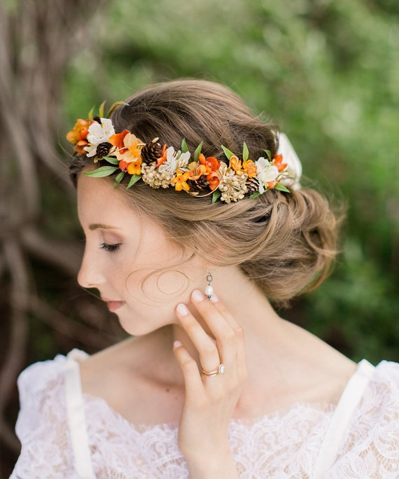 fall flower crown fall headband orange hair wreath autumn  ea0a484931a