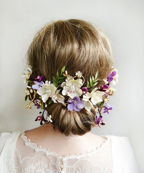 Lavender Flower Hair Wedding Style: Floral Hair Piece Wedding Purple Wedding Hair Accessories
