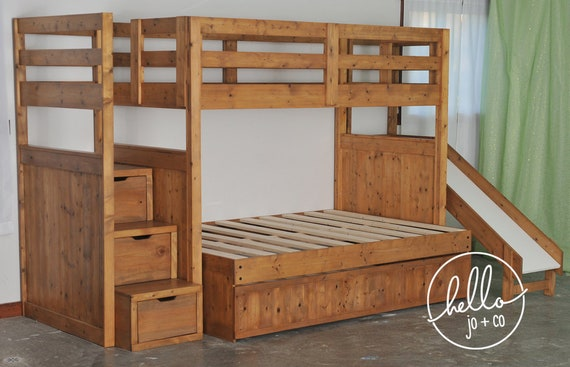 Twin Over Full Over Twin Trundle Solid Wood Bunk Bed With Etsy