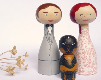Unique wedding cake topper with one pet - Personalized FREE SHIPPING Custom bride groom fiance cat dog
