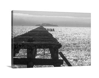 Berkeley Pier Art Print, Alcatraz Island Art, California Art, San Francisco Bay Area Picture, Ocean Pier Art, Berkeley Gift, Bay Area Gift